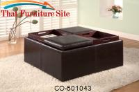 Ottomans Contemporary Square Faux Leather Storage Ottoman with Tray Tops by Coaster Furniture