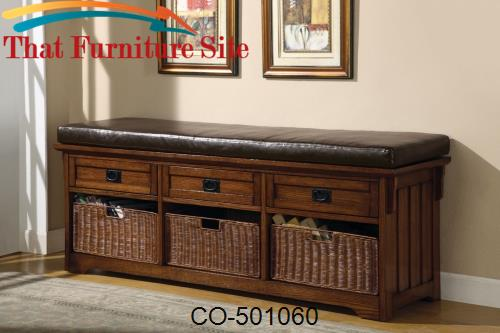 Benches Large Storage Bench with Baskets by Coaster Furniture  | Austi