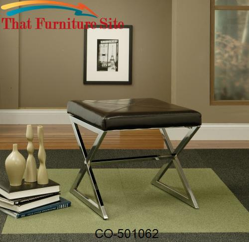 Ottomans Contemporary Faux Leather Ottoman with Metal Base by Coaster