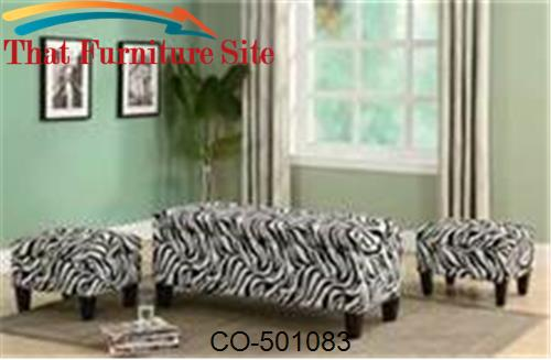 Benches Zebra Print Upholstered Storage Bench and Ottomans by Coaster