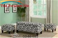 Benches Zebra Print Upholstered Storage Bench and Ottomans by Coaster Furniture