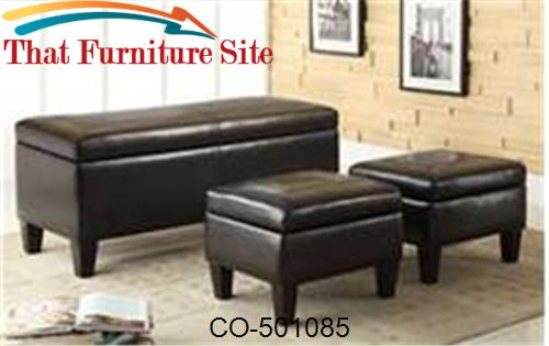 Benches 3 Piece Storage Bench and Ottoman by Coaster Furniture  | Aust