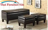 Benches 3 Piece Storage Bench and Ottoman by Coaster Furniture