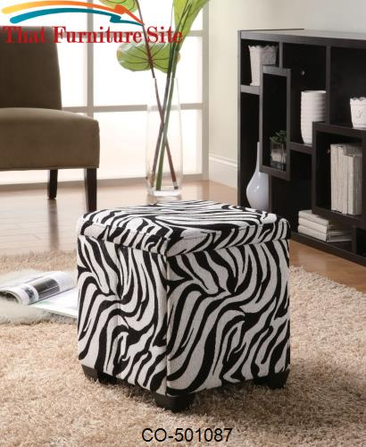 Square Storage White Zebra Ottoman By Coaster Furniture Austin