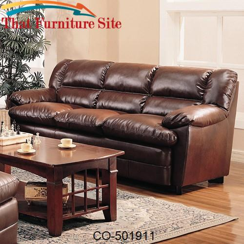 Harper Overstuffed Leather Sofa With Pillow Arms By Coaster Furniture