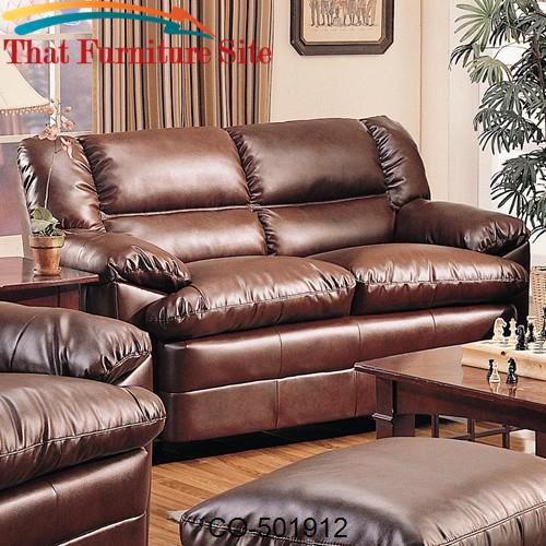Groovy Harper Overstuffed Leather Love Seat With Pillow Arms Creativecarmelina Interior Chair Design Creativecarmelinacom