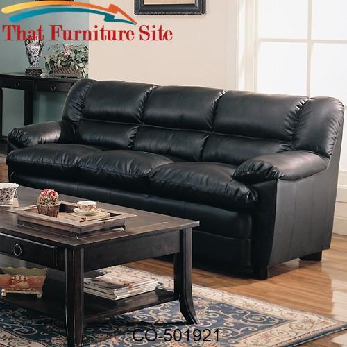 Harper Overstuffed Leather Sofa with Pillow Arms
