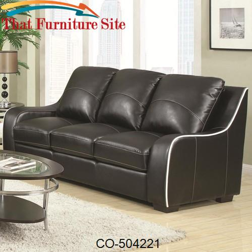Myles Bonded Leather Sofa by Coaster Furniture | Austin
