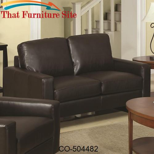 Super Ava Brown Contemporary Leather Loveseat With Platform Legs Gmtry Best Dining Table And Chair Ideas Images Gmtryco