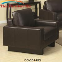 Ava Brown Contemporary Leather Chair with Platform Legs by Coaster Furniture