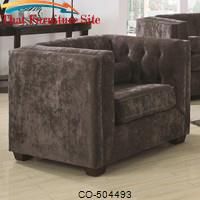 Alexis CH Transitional Upholstered Chesterfield Chair with High Track Arms by Coaster Furniture