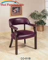 Office Chairs Traditional Upholstered Vinyl Side Chair with Nailhead Trim by Coaster Furniture