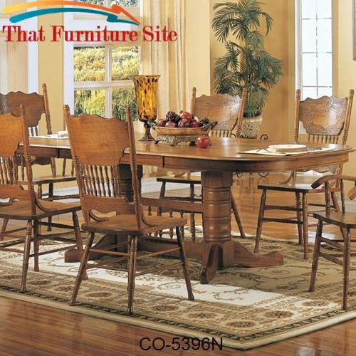Mackinaw Oval Double Trestle Dining Table With Leaves By Coaster Furni - Double trestle dining table