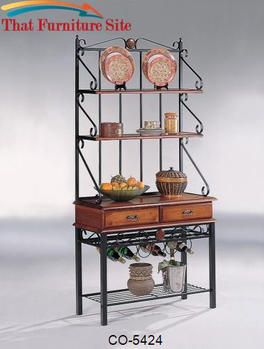 Accent Racks 3 Shelf Kitchen Cabinet with Wine Rack by Coaster Furnitu