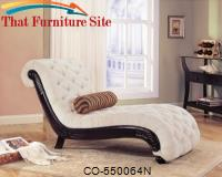 Accent Seating Traditional Chaise with Button Tufting and Carved Wood Trim by Coaster Furniture