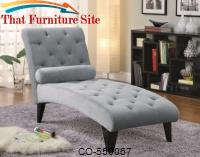 Grey Velour Microfiber Chaise by Coaster Furniture