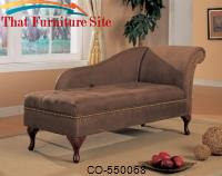 Brown Microfiber Chaise Lounge with Flip Open Seat by Coaster Furniture