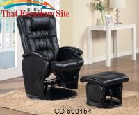 Recliners with Ottomans Casual Leather Like Glider with Matching Ottoman by Coaster Furniture