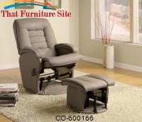 Recliners with Ottomans Leather Like Vinyl Glider with Matching Ottoman by Coaster Furniture