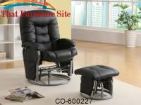 Recliners with Ottomans Casual Leatherette Glider Recliner with Matching Ottoman by Coaster Furniture