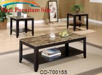 3 Piece Occasional Table Sets 3 Piece Occasional Table Set with Shelf and Marble Look Top by Coaster Furniture