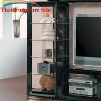 Wall Units Black Media Tower with 5 Glass Shelves by Coaster Furniture