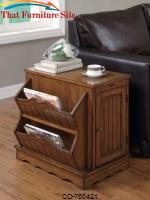 Accent Cabinets Oak Cabinet Table with Magazine Rack by Coaster Furniture