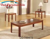 3 Piece Occasional Table Sets Casual 3 Piece Occasional Table Set with Pine Veneers by Coaster Furniture