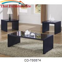 3 Piece Occasional Table Sets Contemporary 3 Piece Occasional Table Set with Black Tempered Glass by Coaster Furniture