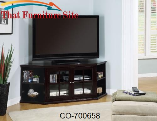 Fullerton Transitional Corner Media Unit with Glass Doors by Coaster F