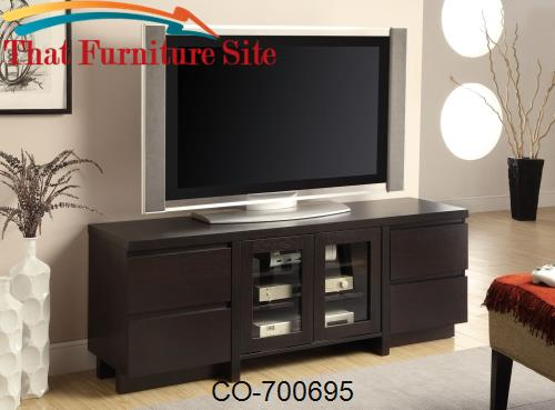 TV Stands Contemporary TV Console with 4 Drawers & 2 Glass Doors by Co