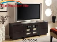 TV Stands Contemporary TV Console with 4 Drawers & 2 Glass Doors by Coaster Furniture