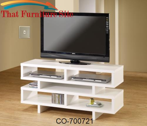 TV Stands Contemporary TV Console with Open Storage & White Finish by