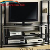 Wall Units Black & Silver Finish Curved TV Stand by Coaster Furniture
