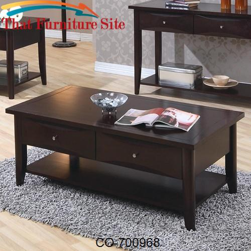 Whitehall Coffee Table w/ Shelf & Drawers by Coaster Furniture  | Aust
