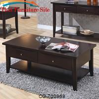 Whitehall Coffee Table w/ Shelf & Drawers by Coaster Furniture