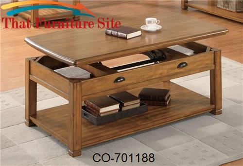 Woodside Casual Contemporary Lift Top Cocktail Table with Shelf by Coa