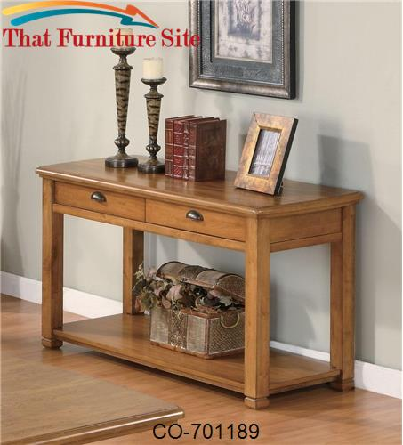 Woodside Casual Contemporary Sofa Table with Drawers and Shelf by Coas