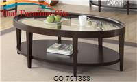 Occasional Group Oval Coffee Table with Beveled Glass Top by Coaster Furniture