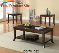 3 Piece Occasional Table Sets Set of 3 Occasional Tables with Flared Legs & Inlaid Tops by Coaster Furniture