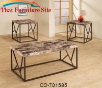 3 Piece Occasional Table Sets Set of Three Occasional Tables with Metal Bases & Marble-Like Tops by Coaster Furniture
