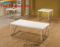 3 Piece Occasional Table Sets Set of 3 High-Gloss Occasional Tables with White Tops & Decorative Chrome Bases by Coaster Furniture
