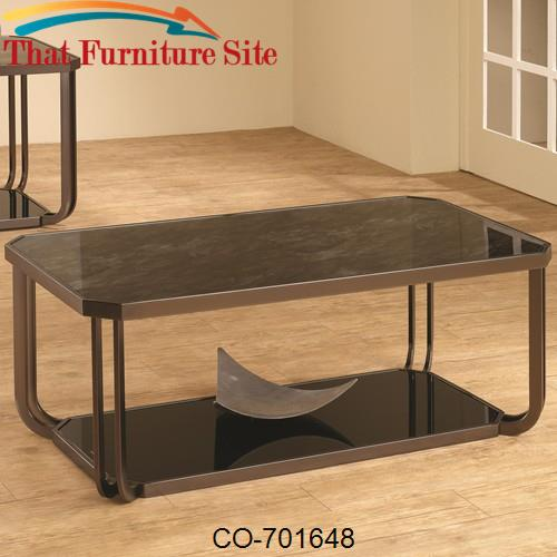 701640 Black Tempered Glass Coffee Table by Coaster Furniture  | Austi