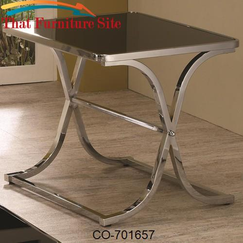 Occasional Group Contemporary Black Glass Top End Table with Chrome Ba