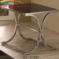 Occasional Group Contemporary Black Glass Top End Table with Chrome Base by Coaster Furniture