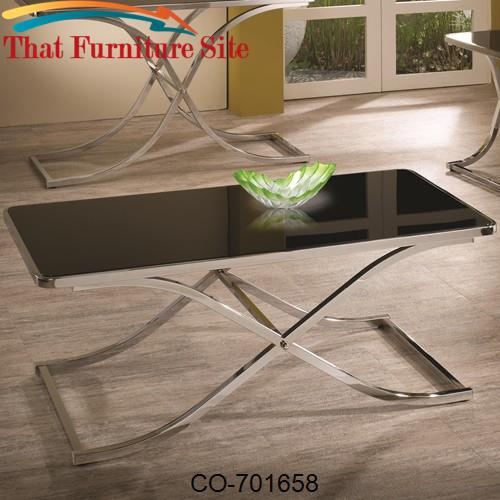 Occasional Group Contemporary Black Glass Top Coffee Table with Chrome