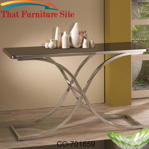 Occasional Group Contemporary Black Glass Top Sofa Table With Chrome B