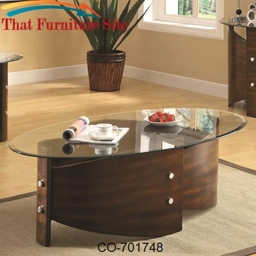 Occasional Group Oval Coffee Table with Shaped Bentwood Base & Glass T