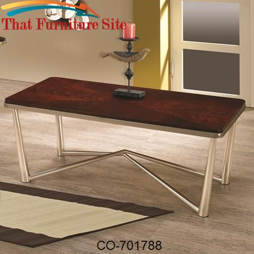 Occasional Group Rectangular Coffee Table with Brushed Nickel Legs by