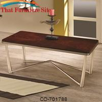 Occasional Group Rectangular Coffee Table with Brushed Nickel Legs by Coaster Furniture